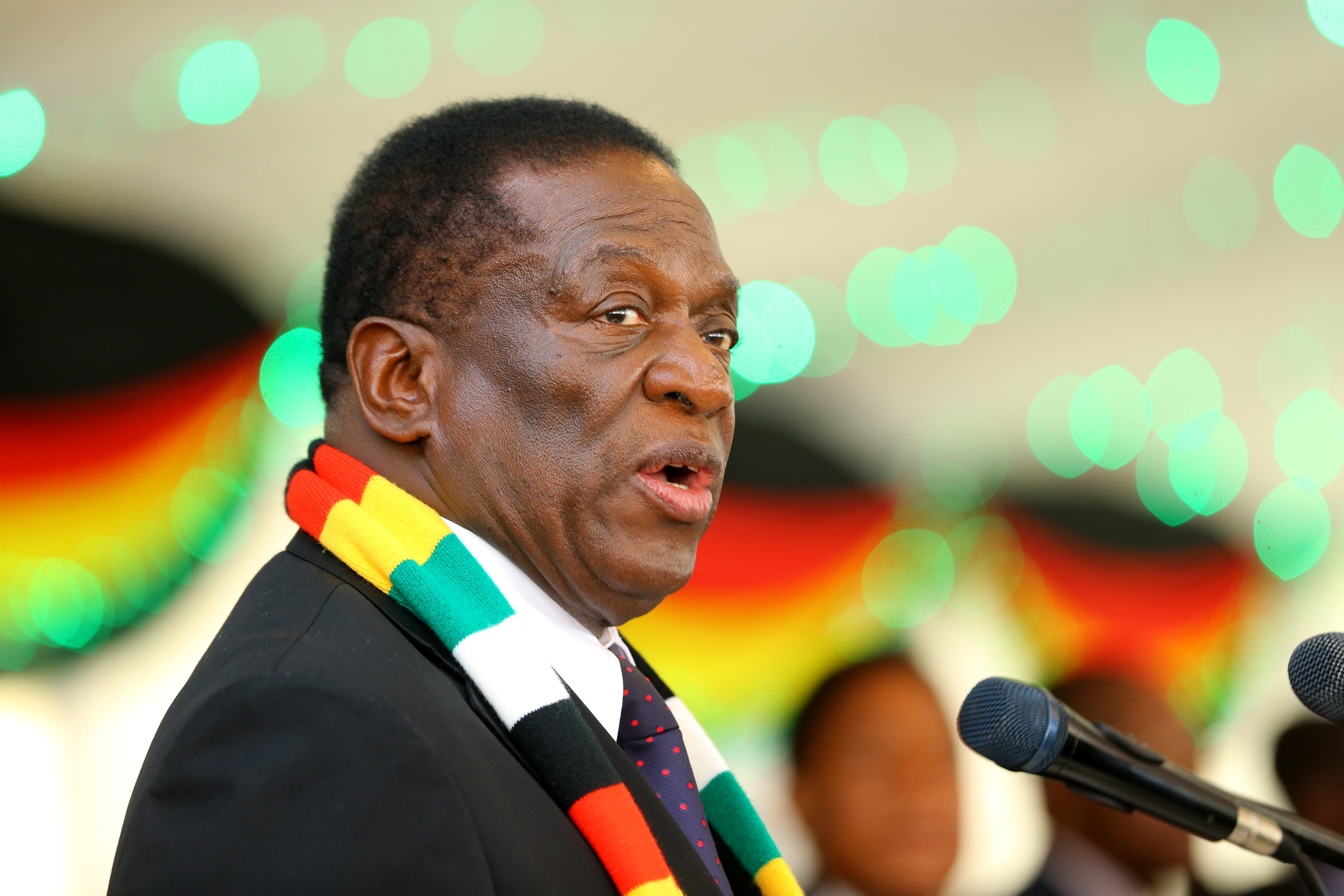 New Zimbabwean President Emmerson Mnangagwa Delivers A Speech During The Swearing In Of The New Members Of His Cabinet At The State House In Harare