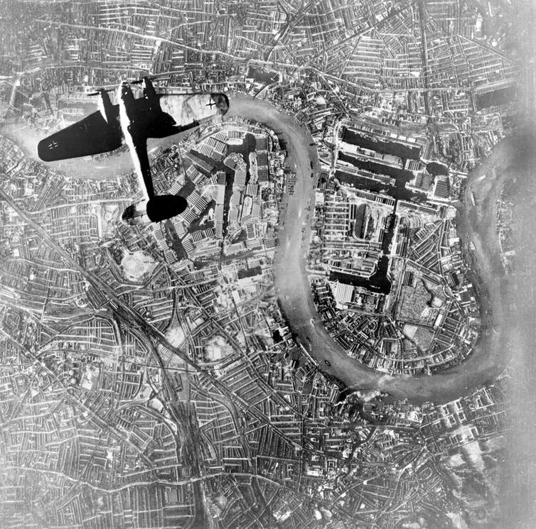 A Nazi plane flying over London in WW2