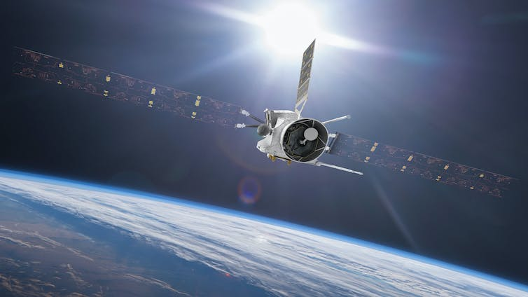 Artist's impression of BepiColombo during its April 2020 Earth flyby. Mio can be seen nestled inside its sunshield