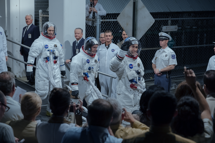 More than a national effort: (left to right) Buzz Aldrin (Corey Stoll), Mike Collins (Lukas Haas) and Neil Armstrong (Ryan Gosling) head for the Moon. (Daniel McFadden)