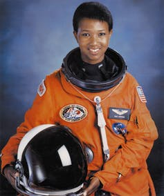 Photograph portrait of Mae C. Jemison wearing her spacesuit