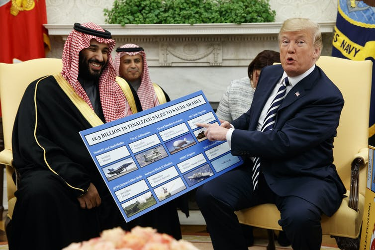 President Trump talking to Saudi official