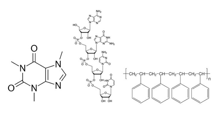 Ilustración de algunas de las sustancias químicas más frecuentes: 1,3,7-trimetilxantina (cafeína), ácido desoxirribonucleico (ADN) y poliestireno (poliestireno extruido)Alexandra Gellé,Author provided.