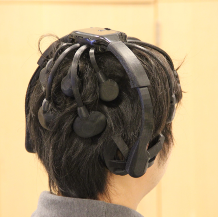 Three electrodes high on the back of a user's head are enough to detect a brain password. Credit: Wenyao Xu et al., CC BY-ND.