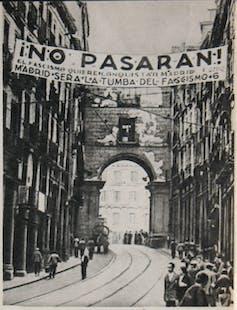 El centro de Madrid, alrededor de 1936-1937. Foto: Mikhail Koltsov (Wikimedia)
