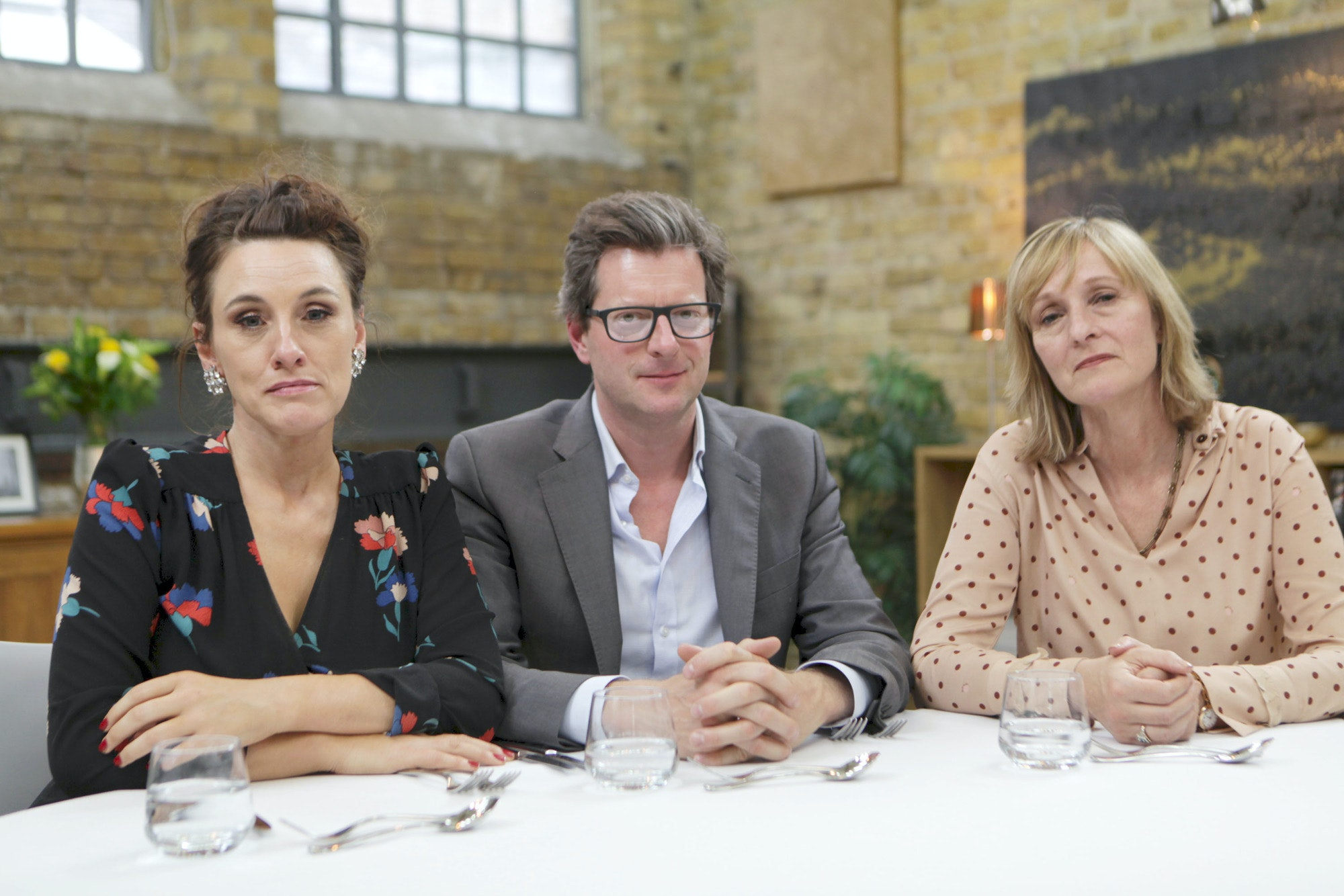 William Sitwell (c) and his fellow judges Grace Dent (l) and Tracey Macleod (r) on Masterchef the Professionals