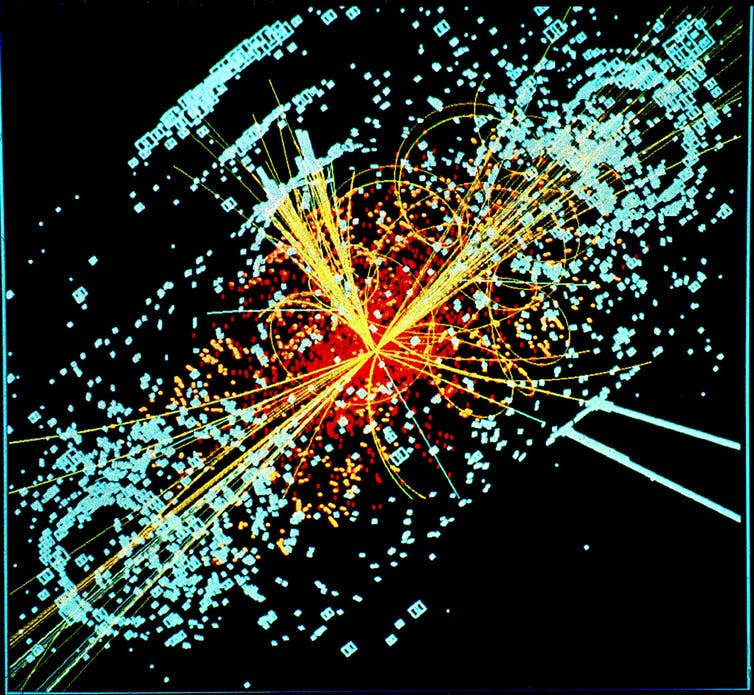 CMS model of a Higgs boson decaying into two jets of hadrons and two electrons. Credit: Lucas Taylor/CERN, CC BY-SA