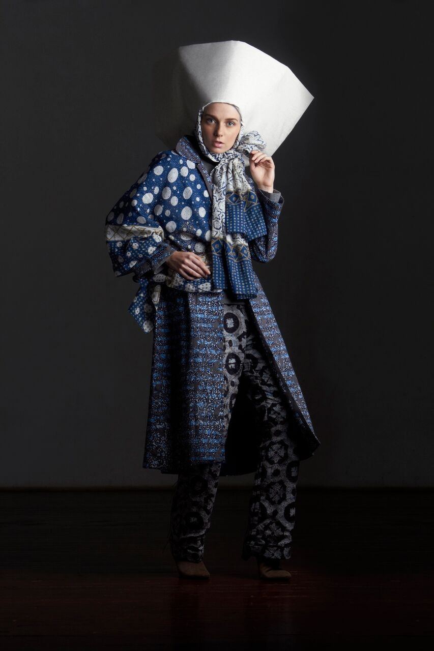 Local textiles in Indonesian fashion. Photo credit: Contemporary Muslim Fashions 22 September 2018 - 6 January 2019  de Young Museum