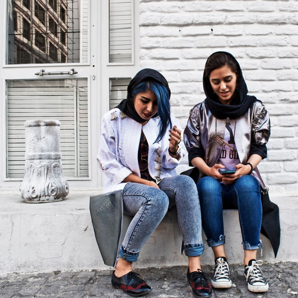 Streetstyle in Iran. Photo credit: Contemporary Muslim Fashions 22 September 2018 - 6 January 2019  de Young Museum