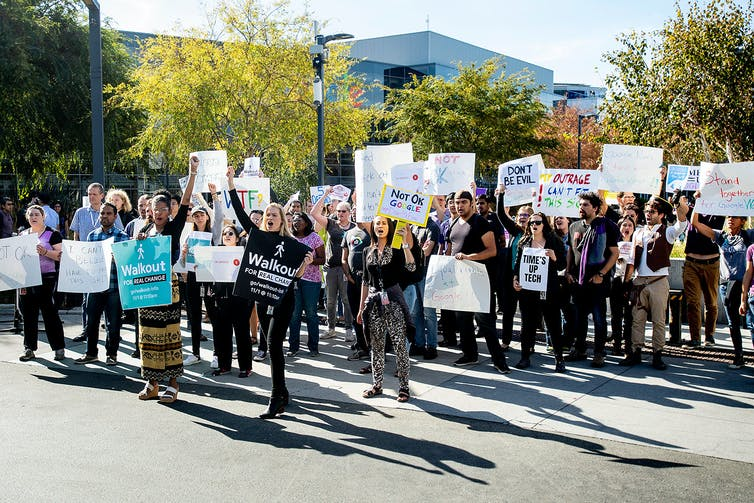 Google employees protest outside the company's Mountain View, California, headquarters.
