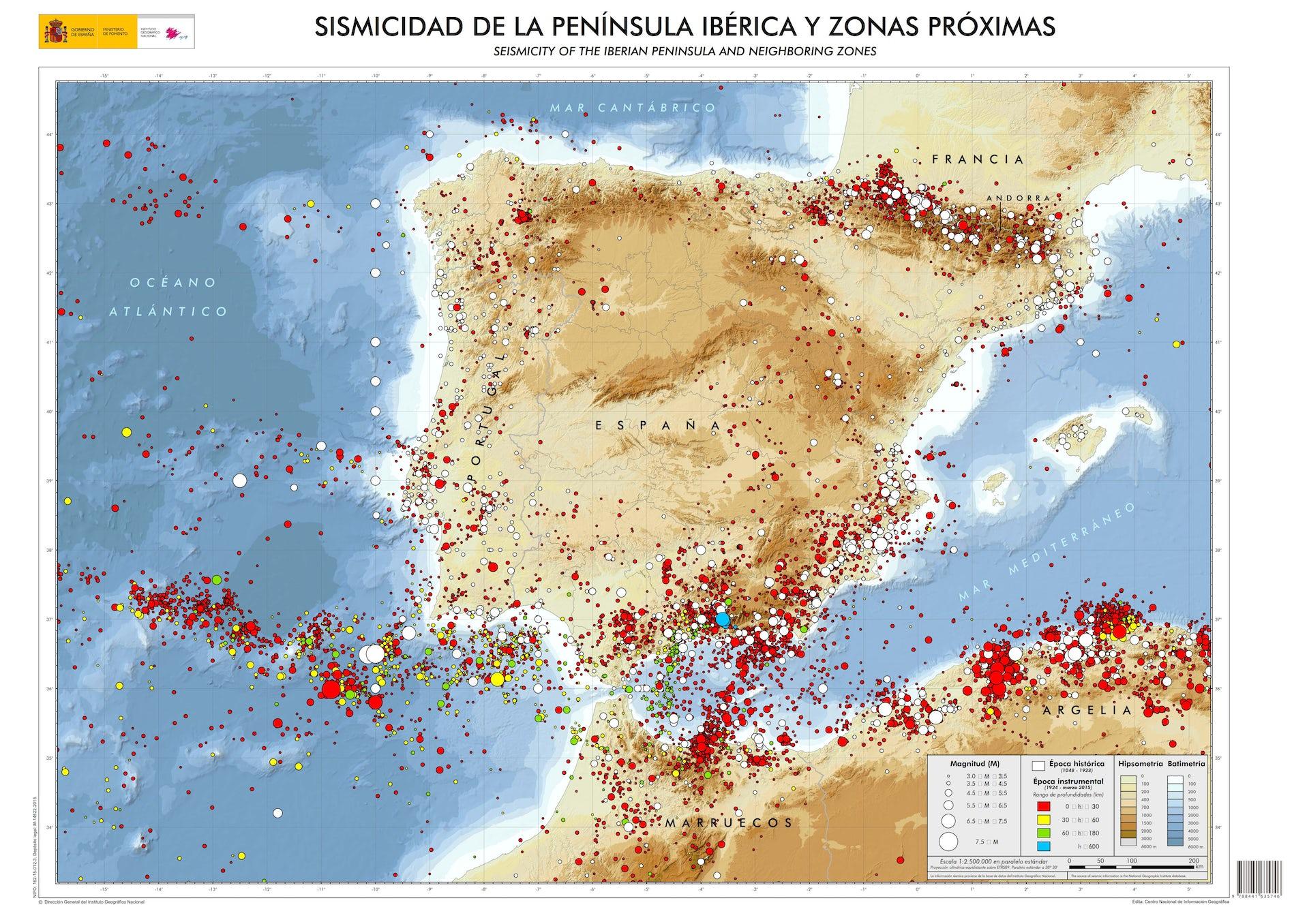 Mapa general de sismicidad de la Peninsula Iberica. La información sísmica proviene de la base de datos del Instituto Geográfico Nacional actualizada al año 2015.Instituto Geografico Nacional