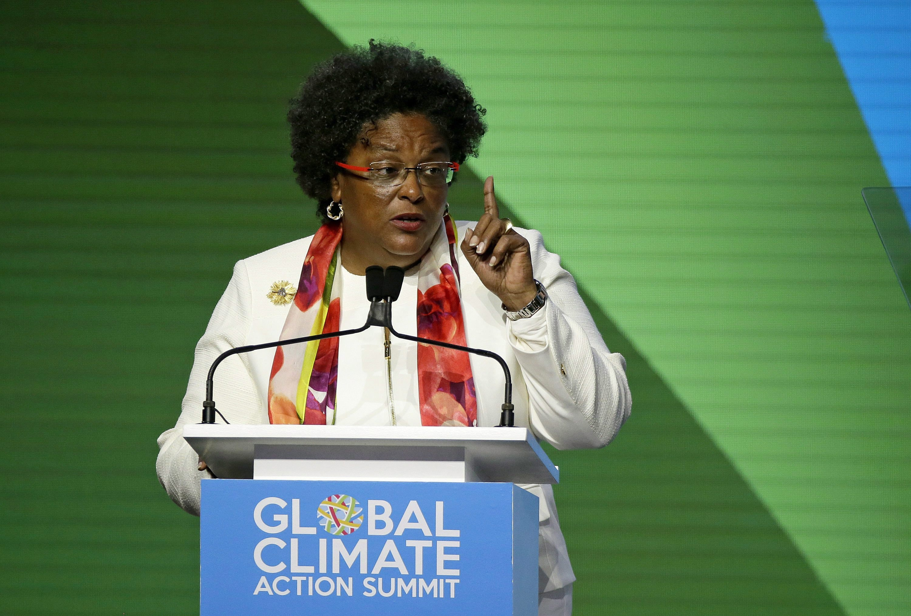 Barbados Prime Minister Mia Mottley speaks during the opening plenary of the Global Action Climate Summit on Sept. 13, 2018, in San Francisco.