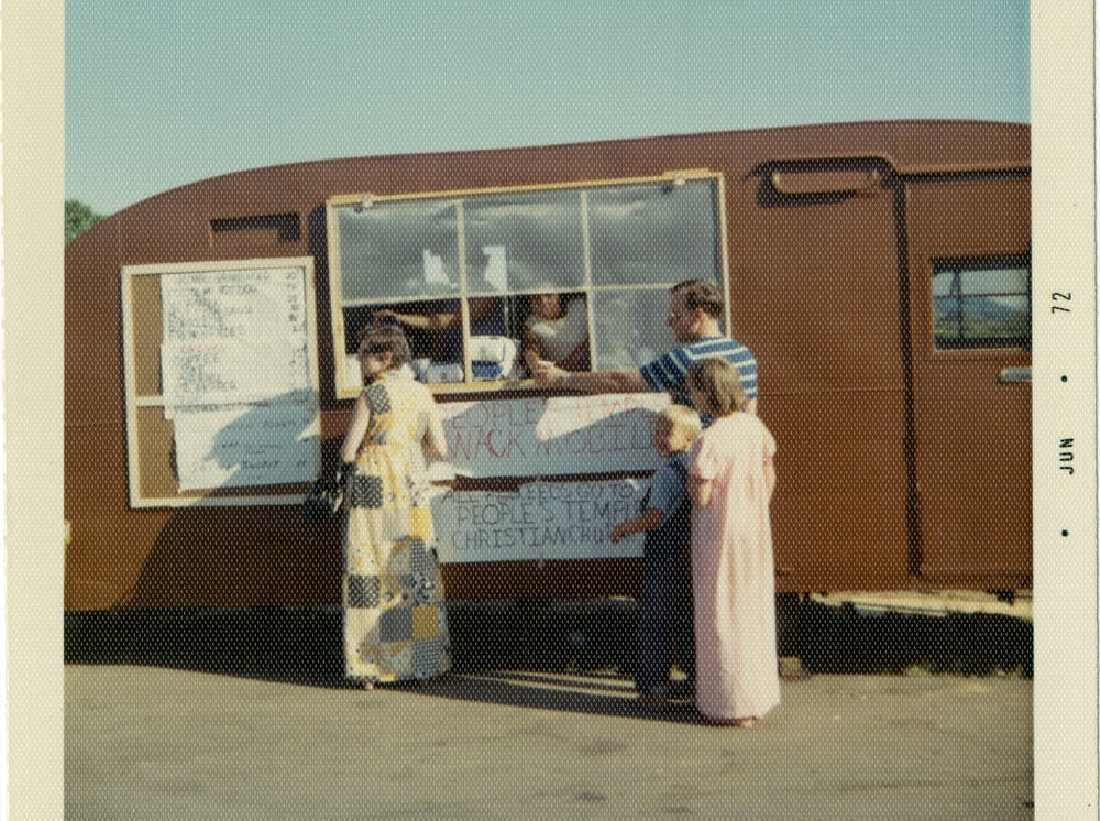 A food truck was one of several moneymaking operations the Temple ran in Northern California. Photo credit: Peoples Temple Collection, 1942–2015, (I.D. MS-0183), Special Collections and University Archives, San Diego State University