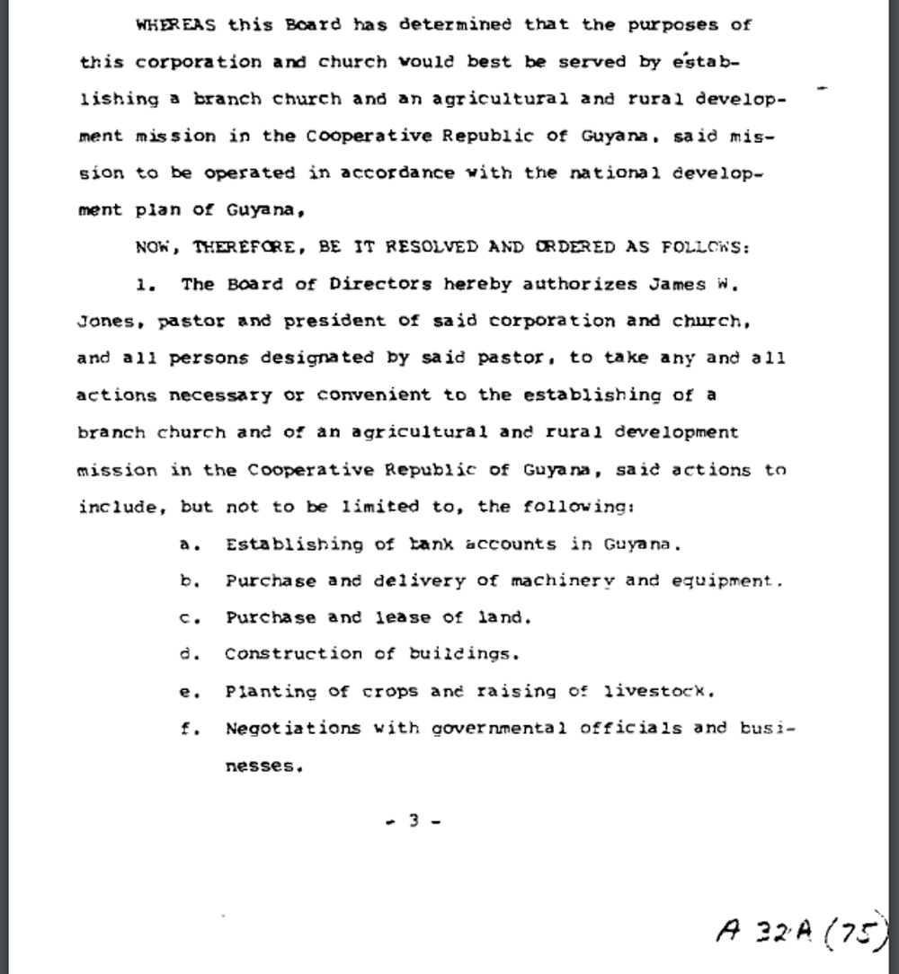 A page from the October 1973 resolution establishing an agricultural mission in Guyana. Peoples Temple Collection, 1942–2015, (I.D. MS-0183), Special Collections and University Archives, San Diego State University