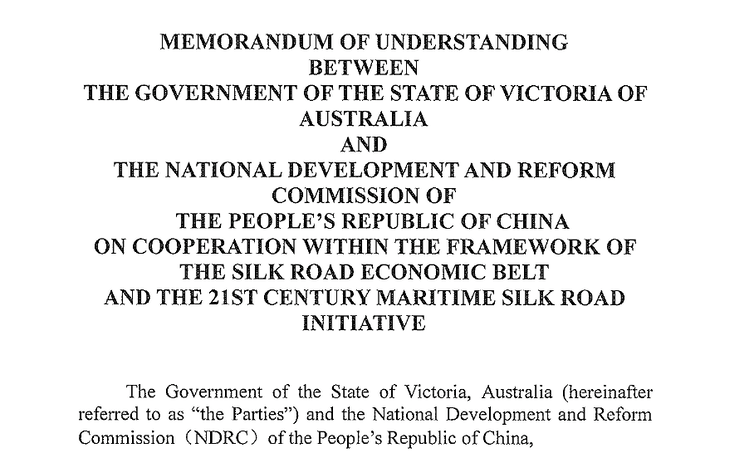 Why we should worry about Victoria's China memorandum of understanding