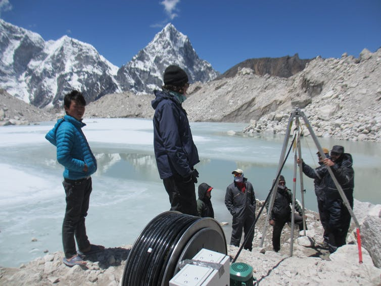 Drilling down in the field studying glaciers