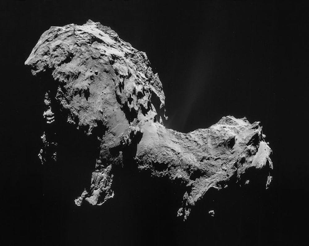 Comet 67P/Churyumov–Gerasimenko, taken by the Rosetta Mission Sept. 19, 2014. Rosetta's original target was 46P/Wirtanen, but NASA missed the deadline to launch in time. ESA/Rosetta/NAVCAM, CC BY-SA