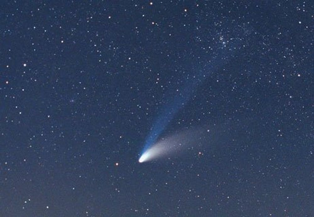 Comet Hale-Bopp has a blue ion tail as well as a curved dust tail.  Astronomy For Beginners, Andy Roberts, CC BY
