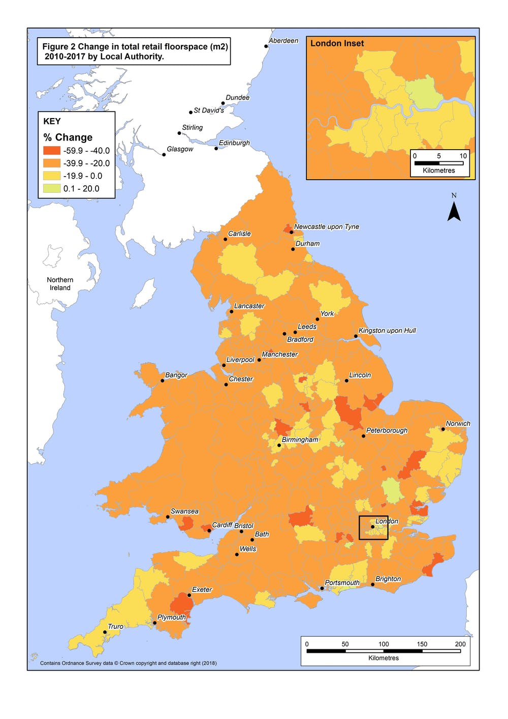 Map Of England Northumbria.Retail Decline In Maps England And Wales Lose 43m Square Metres Of