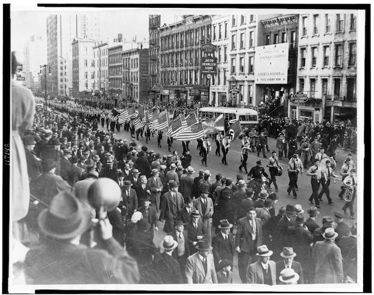 German-American Bund parade in New York City in 1939.