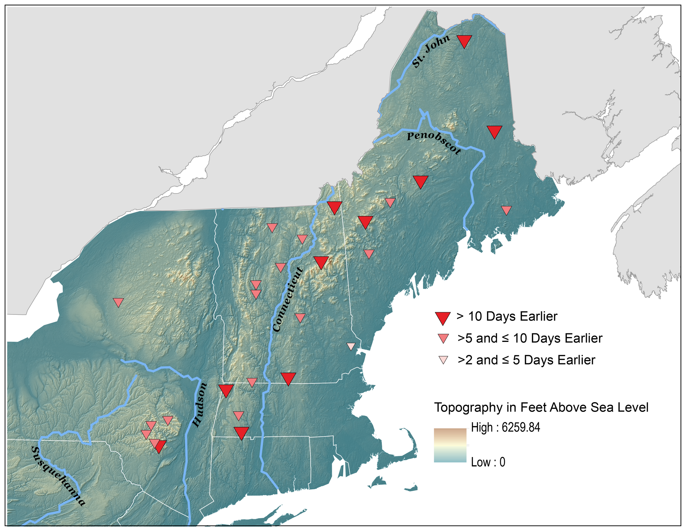 Map showing snow melt timing in the Northeast from 1960-2014.