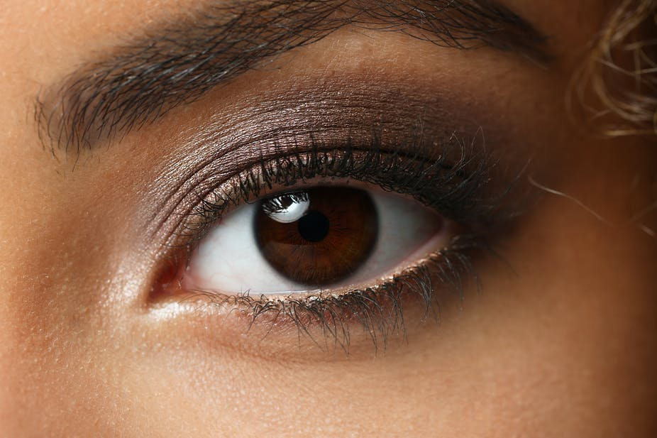 Brown eyes close up