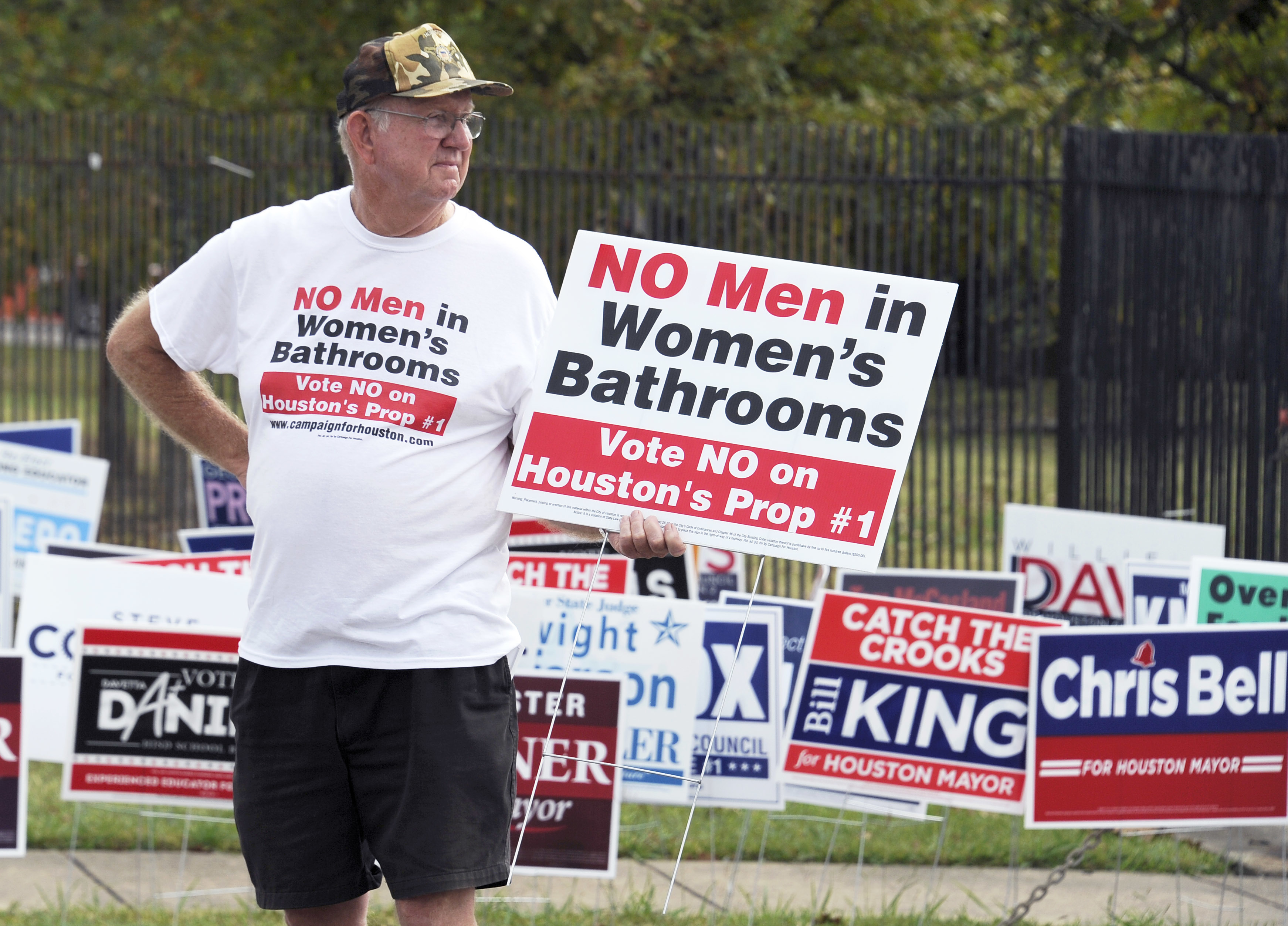 A demonstrator holds a sign against the Houston Equal Rights Ordinance. AP Photo/Pat Sullivan
