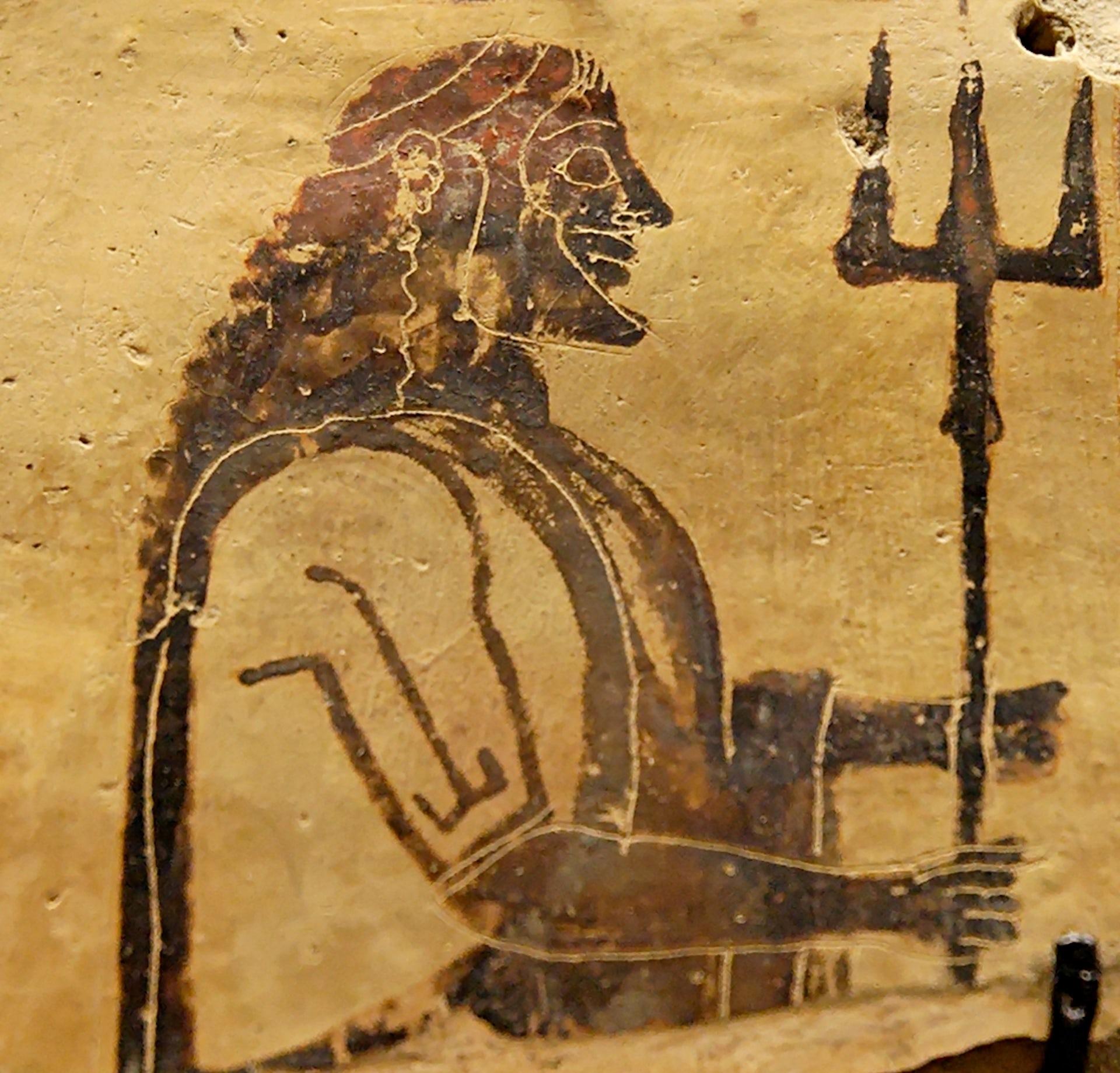 Poseidon holding a trident. Corinthian plaque, 550–525 BC. From Penteskouphia. Courtesy Wikimedia Commons.