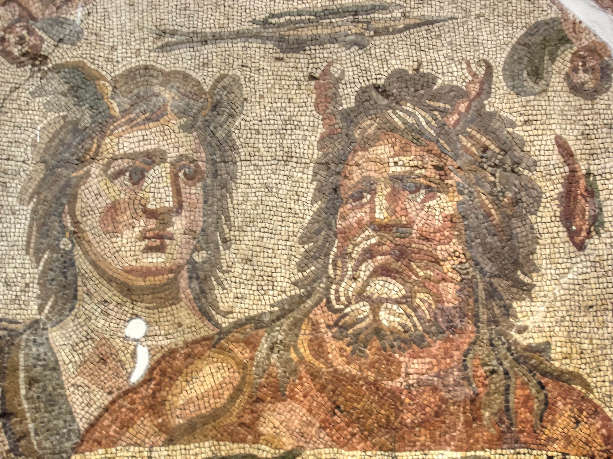 A third century mosaic depicting Tethys and Oceanus. Courtesy Wikimedia, CC BY-SA.