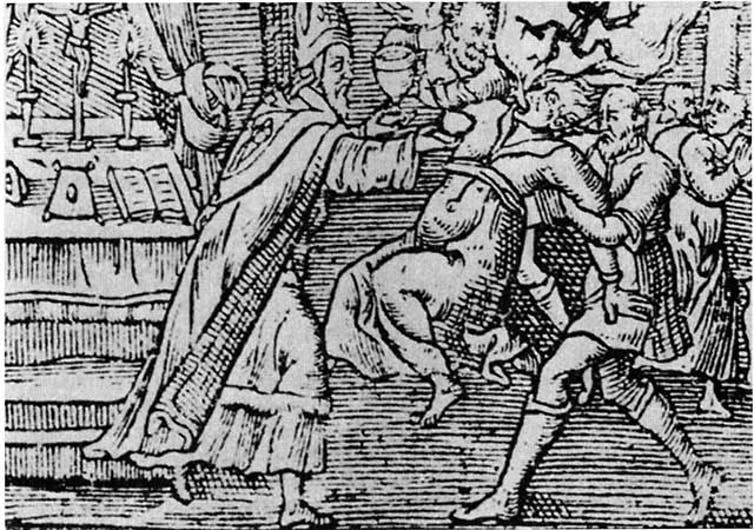 A woodcut from 1598 shows an exorcism performed on a woman by a priest and his assistant, with a demon emerging from her mouth.
