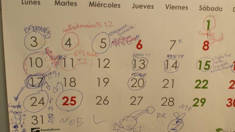 Calendario de exámenes de estudiantes de educación primaria.