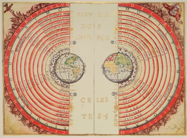 The geocentric model. Bartolomeu Velho, 1568 (Bibliothèque Nationale, Paris)