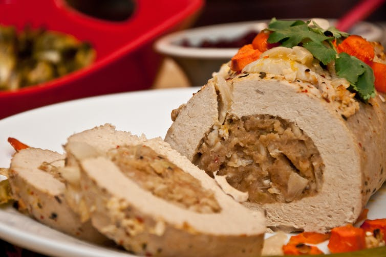 The tofu-turkey roast is a typical vegan standby for Christmas dinner. Jay Ondreicka/Shutterstock