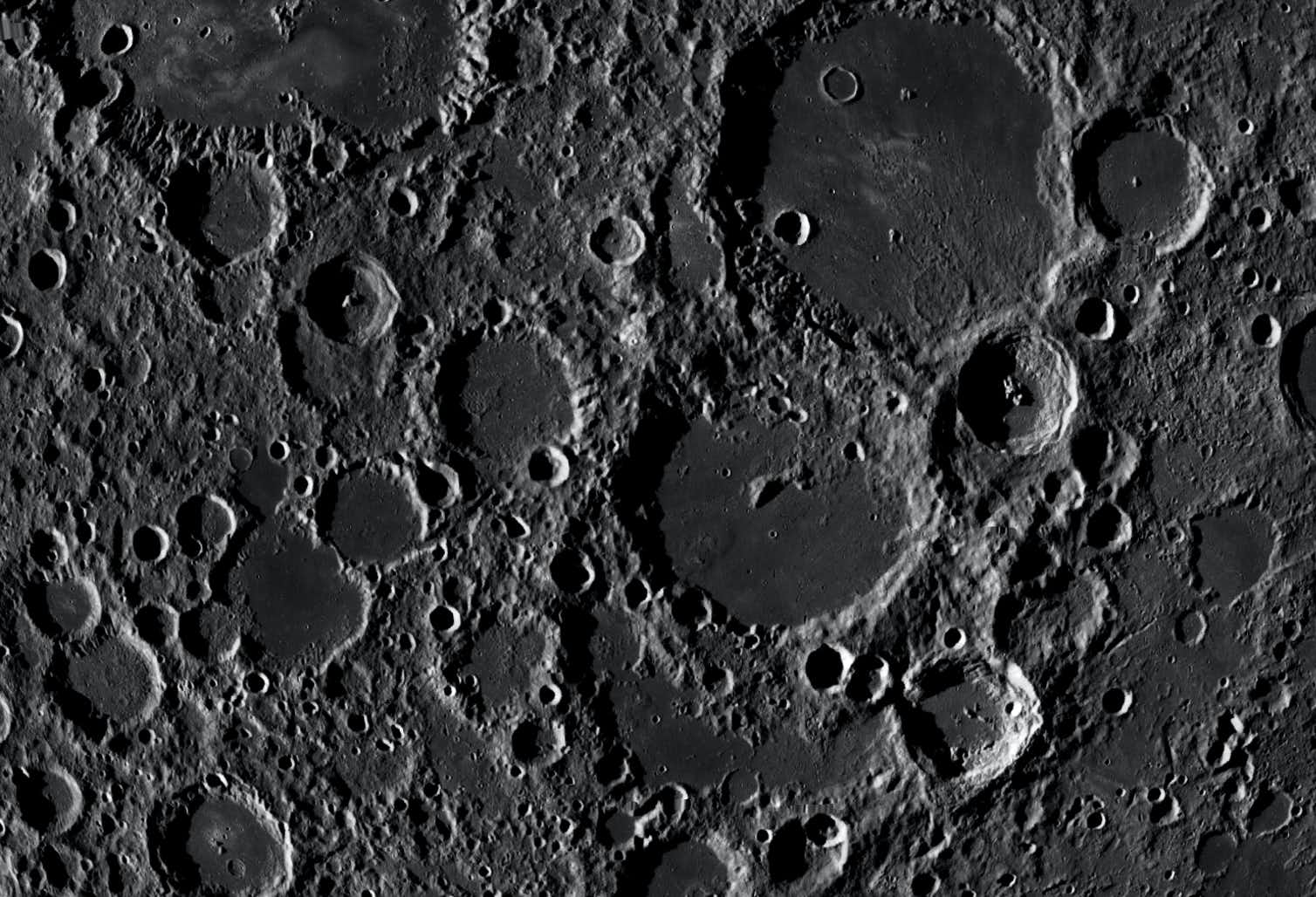 800km wide view of the lunar far side, almost centred on the 180km diameter Von Karman crater. Credit: NASA/LROC Quickmap