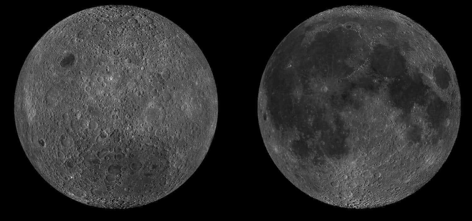 Lunar far (left) and near (right) sides. Credit: NASA/LROC Quickmap
