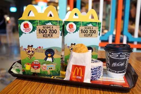 fast food chains use cute animal toys to market meat to children