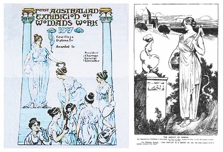 First Class Diploma design for Women's Work Exhibition, by Ruby Lindsay, 1907 (left) and illustration for Punch, title 'The Ascent of Woman', by Ruby Lindsay, 31 October, pp. 639,1907 (right).