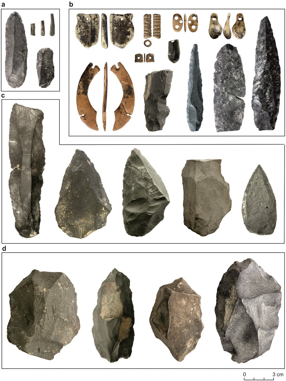 Selection of artefacts from Denisova Cave