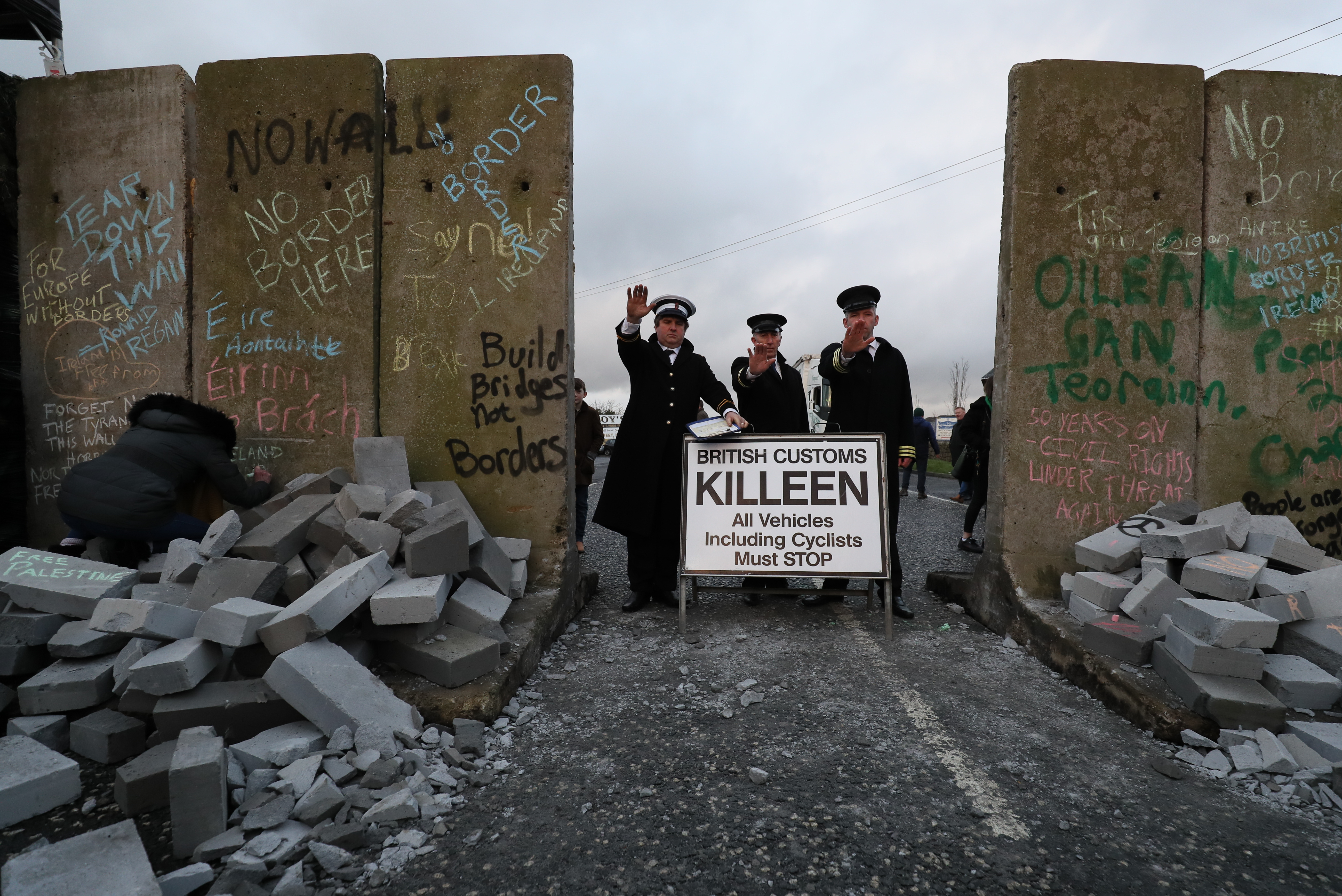 Protesters set up a mock checkpoint at the Irish border in January. Brian Lawless/PA Wire