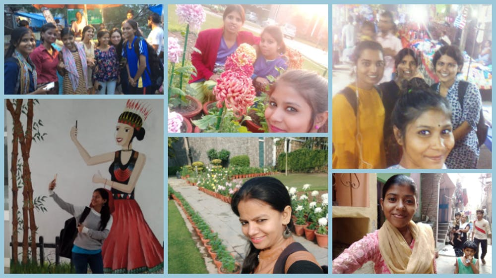 Collage of selfies in the city. Credit: WhatsApp diaries
