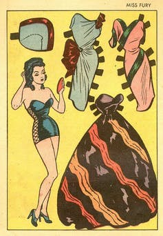 A Miss Fury paper doll cut out