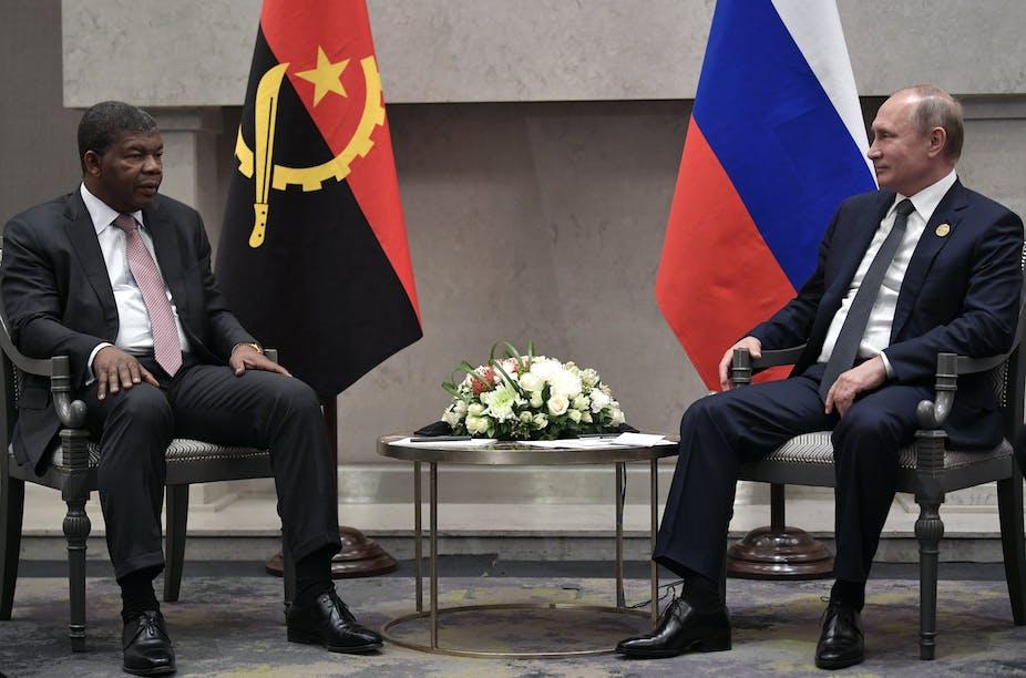 Angolan President Joao Lourenco and Russian President Vladimir Putin in Johannesburg in 2018. EPA-EFE/Alexei Nikolsky/Kremlin Pool