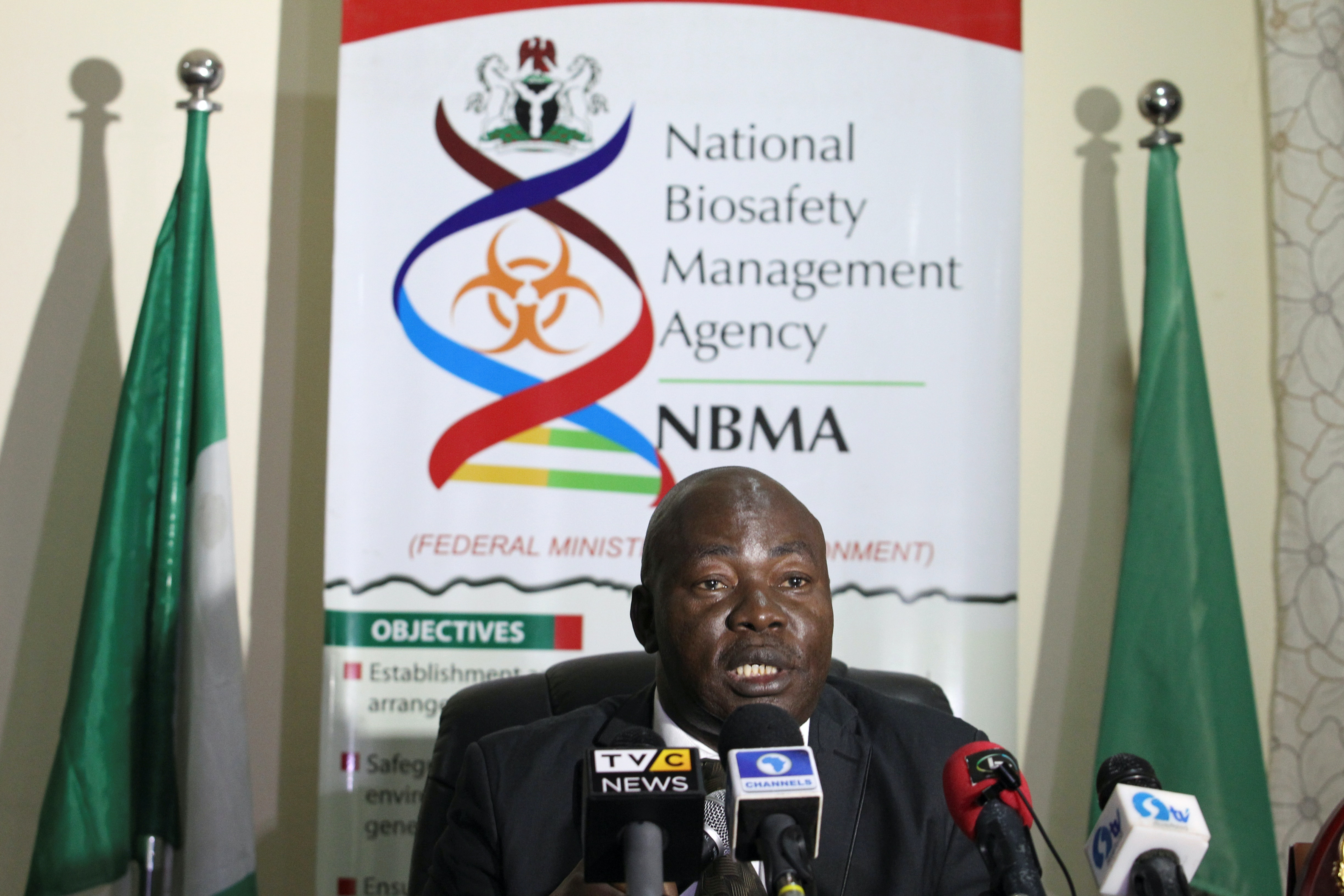 National Biosafety Management Agency Director General Rufus Ebegba speaks during a press briefing, denying the importation or release of any GMO 'poison rice' into the Nigerian market in Abuja. Photo credit: Reuters