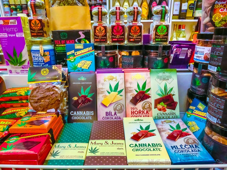 An array of cannabis infused food products on display.