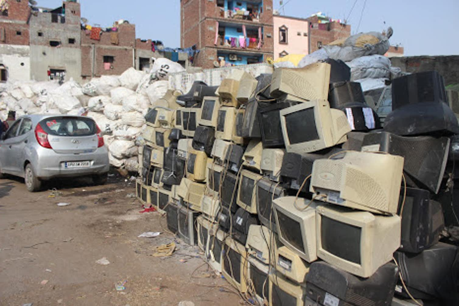 Obsolete computer electronics equipment lie stacked along the roads in Seelampur. Photo credit: Alankrita Soni, Author provided