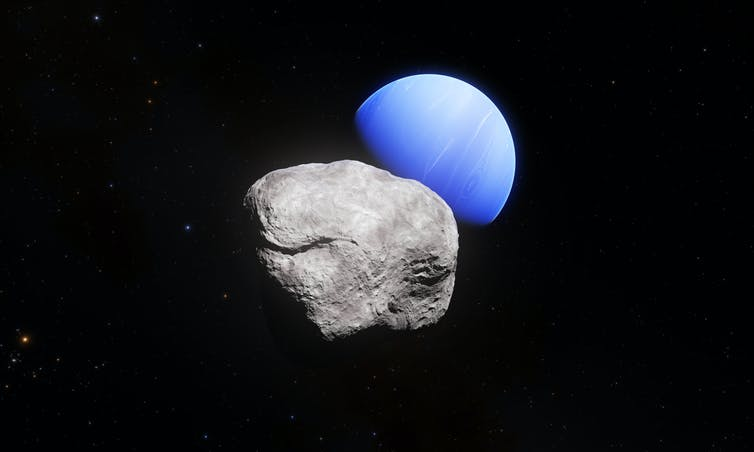 Uranus (kiri) dan Neptunus (Kanan) dilihat dari citra teleskop Hubble.