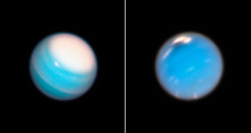 Uranus (left) and Neptune (right) seen by Hubble.