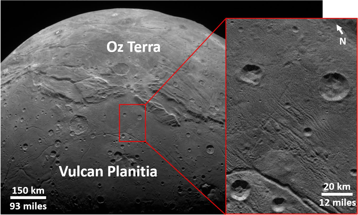Details of the ancient cratered surface of Charon's Vulcan Planitia. Photo credit: NASA/Johns Hopkins University Applied Physics Laboratory/Southwest Research Institute/K. Singer