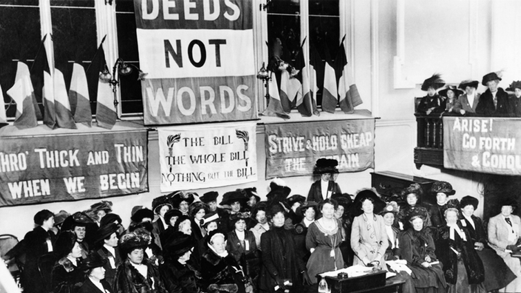 Emmeline Pethick-Lawrence and Emmeline Pankhurst at a suffragette meeting at Caxton Hall, Manchester, England in 1908