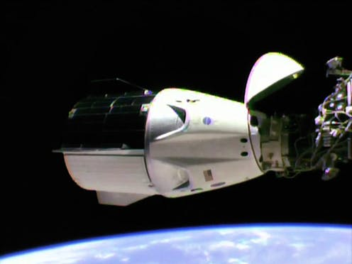 The SpaceX Crew Dragon is docked to the International Space Station.